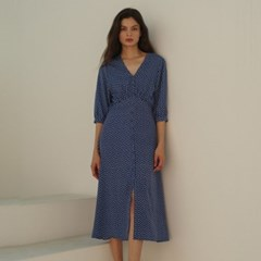 [룩캐스트] BLUE V NECK PRINTING LONG DRESS