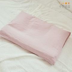 [수면공감] 우유베개 솔리드 린넨 베개커버 핑크