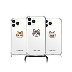 [T] 고양이얼굴 폰스트랩 방탄 젤하드 케이스