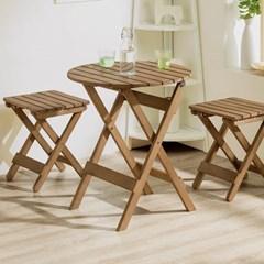 인테리어 접이식 베란다테이블 목재 의자_(159421)