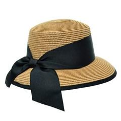 [플릭앤플록]IAP03.빅리본 밴드 밒짚 여성 큰챙 모자