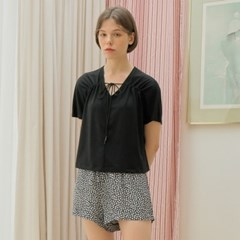 [와드로브] SHIRRING NECK T-SHIRT_BLACK