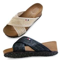 kami et muse Lattan cross strap wedge heel slippers_KM20s151