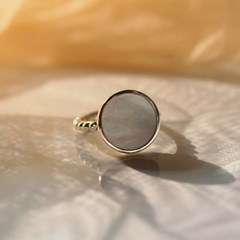 925silver Arin Marble Signature Ring (White Shell)
