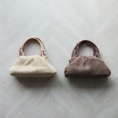라피아 프레임 미니 만두백 (2color)