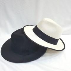 검은띠 여름 바캉스 남녀공용 챙넓은 페도라 모자