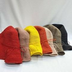리본끈 여성 패션 바캉스 니트 버킷햇 벙거지 모자
