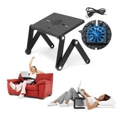 앉거나누워서사용 3단관절 각도조절 쿨러내장 노트북거치대