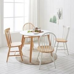 가구데코 플랜 HPL 화이트 1000 원형 테이블+의자 4개 NE0160