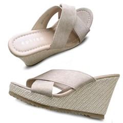 kami et muse Cross trap wedge heel slippers_KM20s154