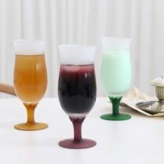 매트 컬러 튤립 롱 고블렛 와인잔 유리컵 샴페인잔