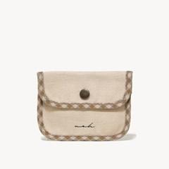 Signature mini wallet (check) - beige