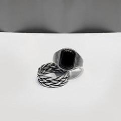 Silver 925 오닉스/이중 반지세트