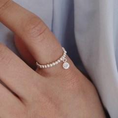 white stone ball ring