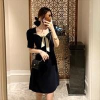 리본 퍼프 슬림 플레어 러블리 로맨틱 투톤 햅번 단정 미니 원피스