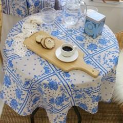 빈티지 블루 플라워 테이블보