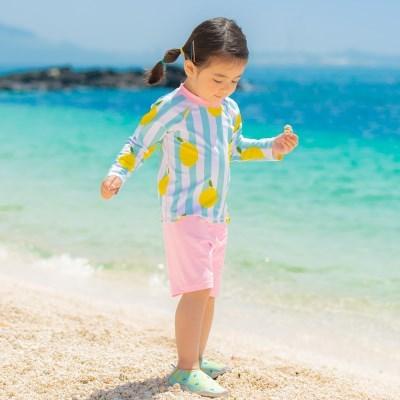 [BAY-B] 유아동 민트 레몬 래쉬가드 상하의+수영모 세트_(2791102)
