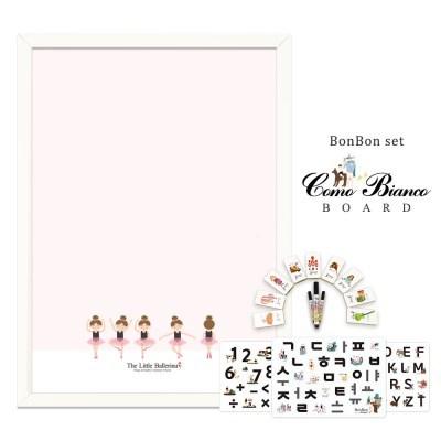 [꼬메모이]꼬모비앙코 리틀발레리나 M 봉봉문자3종 세트 / 칠판 자석