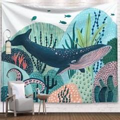 태피스트리 벽장식 패브릭포스터 - 고래의 꿈 (150x130cm)