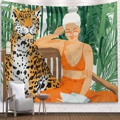 태피스트리 벽장식 패브릭포스터 - 레오파드 (150x130cm)