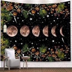 태피스트리 벽장식 패브릭포스터 - 플라워 문싸이클 (150x130cm)