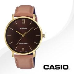 CASIO 카시오 MTP-VT01GL-5B 남성시계 가죽밴드 손목시계