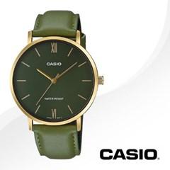 CASIO 카시오 MTP-VT01GL-3B 남성시계 가죽밴드 손목시계