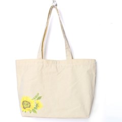 해바라기 꽃 마켓사이즈 장바구니 에코백 아이보리