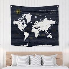 패브릭포스터 북유럽그림 세계지도 네이비 150x130_(1458326)