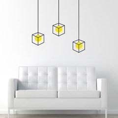 심플한 육면체 전등 인테리어스티커 3p