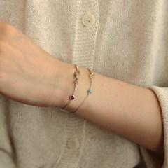 [normaldott] toggle bracelet / ankle bracelet with gemstone