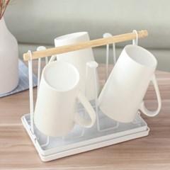 화이트 우드 컵정리대 6P 컵홀더 컵걸이 (물받이 포함)