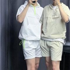 여름 오버핏 후드 반팔 아노락 밴딩 고무줄 반바지 세트
