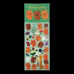 큐피드곰의 크레파스 광택 스티커