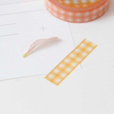 Check Ribbon Masking Tape [Tangerine]