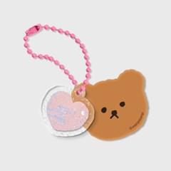 Dot love and bear-세트(브라운 키링)