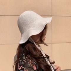 라피아 보넷 레이스 버킷햇 턱끈 지사 모자