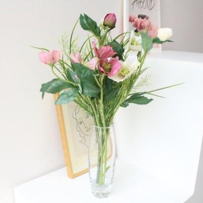생화같은 헬레보루스 조화꽃가지 장식(3color)