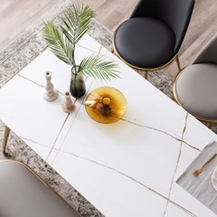 모딜리아니 세라믹 골드 6인 식탁 테이블