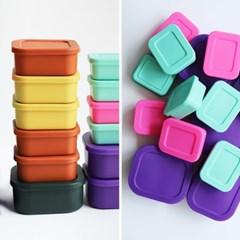 [리본제이]젤리팝 큐브 실리콘 밀폐용기 냉장고밥팩 소/중/대 3P세트