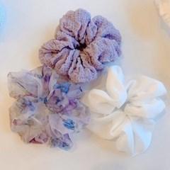 [3개세트][3color] 보라색 장미 헤어슈슈 곱창 머리끈 세트