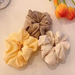 [3개세트][3color] 데일리 베이직 노랑 삼색 스크런치 곱창 머리끈