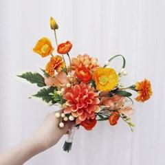 양귀비&다알리아 orange color 조화부케세트