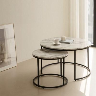 트리빔하우스 슬로우 마블 원형 테이블 세트