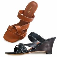 kami et muse Stitch ribbon strap wedge heel slippers_KM20s198