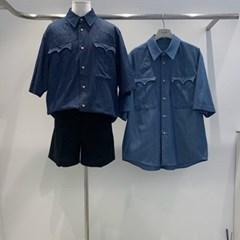 여름 남성 오버핏 빅사이즈 포켓 스티치 박스 반팔 셔츠남방