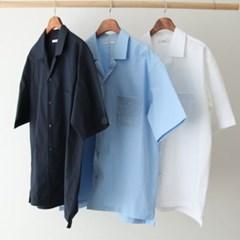 여름 남성 오버핏 오픈카라 무지 면 박스 정장 반팔 셔츠 남방