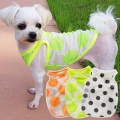 심플메쉬슬리브 강아지 민소매티셔츠 메시소재 강아지티셔츠