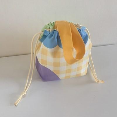 Yellow check string bag