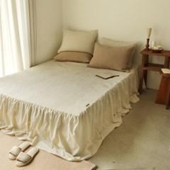 60수 줄누빔 피그먼트 워싱 침대스커트